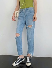 Fashion Blue Washed Cropped Ripped Jeans