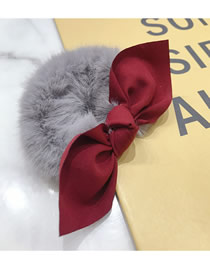 Fashion Gray Mink Hair Hit Color Bow Hair Rope