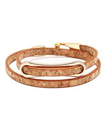 Fashion Wood Grain Brown Wood Grain Alloy Two Buckles Bracelet