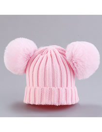 Fashion Hat-pink Thread Wool Ball Wool Hat