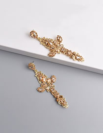 Fashion Champagne Cutout Cross Earrings With Diamonds