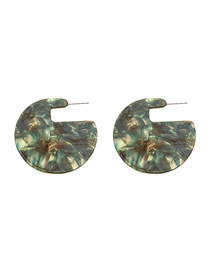 Fashion Green Geometric C-shaped Acetate Earrings