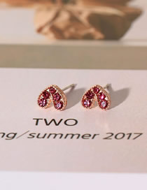 Fashion Rose Red Love Heart Earrings With Diamonds