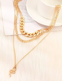 Fashion Golden Snake-shaped Thick Chain Multilayer Necklace