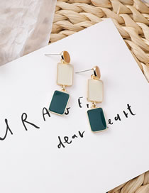 Fashion B Meter + Green Dripping Oval Earrings