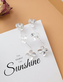 Fashion B Silver Pearl Flower Earrings