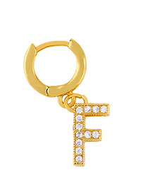 Fashion F Golden Diamond Letter Earrings