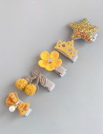 Fashion Yellow Cherry 5 Piece Set Star Crown Flower Hair Clip Set