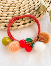 Fashion Red Cherry Cherry Hair Ball Child Hair Rope