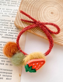 Fashion Red Orange Strawberry Hair Ball Hair Rope