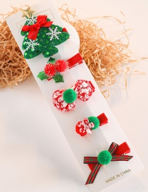 Fashion Christmas Tree Series # 5piece Set Christmas Tree Bow Hair Ball Hair Clip Set