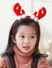 Fashion White Ball Ball Red Antlers Headband Antlers Child Headband