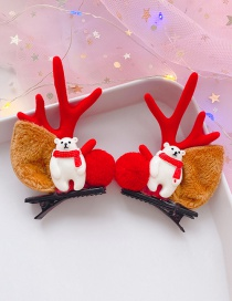 Fashion Little White Bear With Red Antlers 1 Pair Christmas Bear Antlers Hair Clip Set