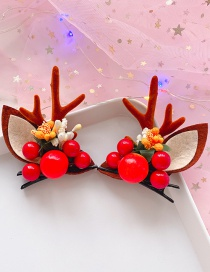 Fashion Red Fruit Brown Antlers 1 Pair Cherry Antlers Hair Clip Set