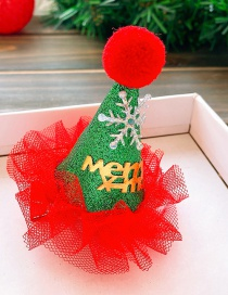 Fashion Green Christmas Hat-lace Edge Christmas Hat Lace Children Snowflake Hairpin
