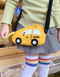 Fashion Yellow Stitched Contrast Car Children Shoulder Bag