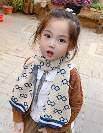 Fashion Off-white Blue Printed Contrast Children Scarf