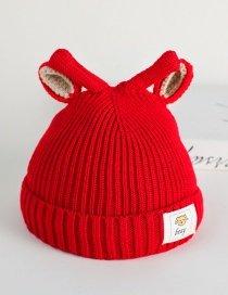 Fashion Rose Red Rabbit Ears Baby Hat