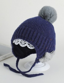Fashion Navy Ear Protection Star Hair Ball Baby Hat