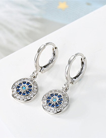 Fashion Silver Round Earrings With Diamonds