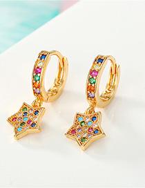 Fashion Color Diamond Star Earrings