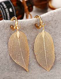 Fashion Golden Alloy Hollow Leaf Earrings