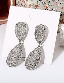 Fashion Silver Alloy Diamond Drop Earrings