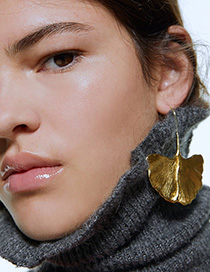 Fashion Golden Brushed Ginkgo Leaf Earrings