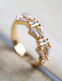 Fashion Golden Geometric Diamond Open Ring