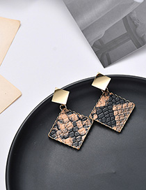 Fashion Snakeskin Pattern Geometric Triangle Earrings
