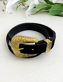 Fashion Black Pu Velvet Alloy Shell Shape Belt