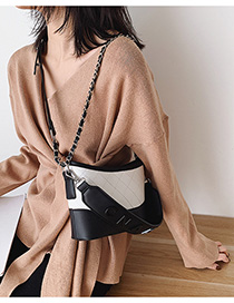Fashion Black And White Letter-stitched Rhombus Chain Shoulder Bag