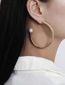 Pendientes De Perlas En Forma De C Con Diamantes