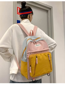 Fashion Pink Stitched Contrast-print Alphabet Backpack