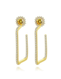Fashion Golden Flower Square Earrings With Diamonds