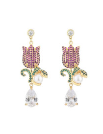 Fashion Color Rose Pearl Drop Earrings With Diamonds