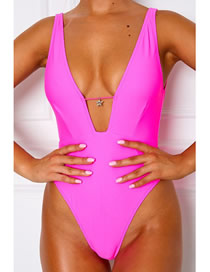 Fashion Pink Deep V-neck Strap One-piece Swimsuit