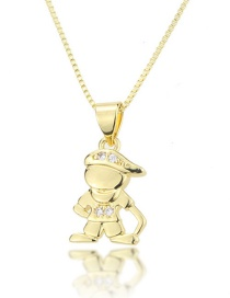 Fashion Golden Hooded Boy Necklace With Diamonds