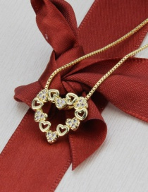 Fashion Gold-plated Love Heart Necklace With Diamonds