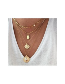 Fashion Gold-plated Embossed Wafer Portrait Multilayer Necklace