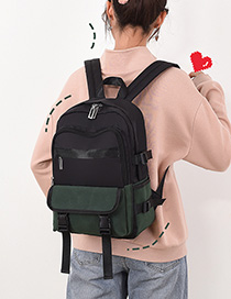 Fashion Green Stitched Contrast Backpack