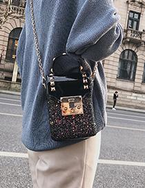 Fashion Black Sequined Chain Shoulder Crossbody Bag