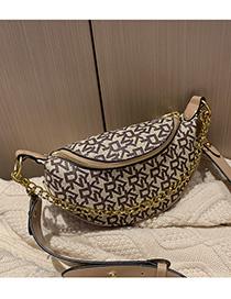 Fashion Khaki Chain Printed One Shoulder Crossbody Bag