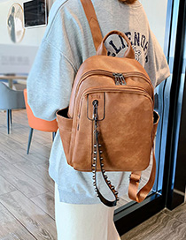 Fashion Yellow-brown Studded Zip Backpack