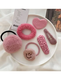 Fashion Face Value System-6 Pieces Of Rose Powder Love Smiley Plush Hair Clip Hair Rope Set