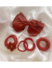 Fashion Face Value System-maple Leaf Red 5 Flower Plush Bow Hair Clip Hair Rope Set