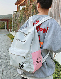 Fashion Pink Cute Cat Letter Stitching Backpack