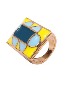 Fashion Rectangle Geometric Dripping Oil Ring