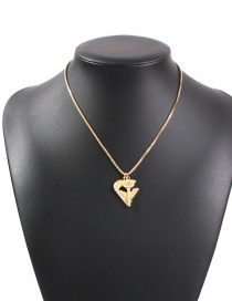 Fashion Golden Alloy Key Love Hollow Necklace