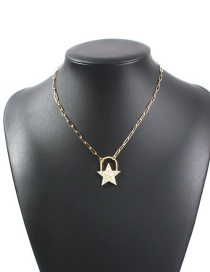 Fashion Golden Pentagram Chain Necklace With Diamonds